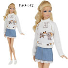 "FAO-042 mini skirt sweatshirt for Barbie MTM Pivotal and similar size 12"" dolls"