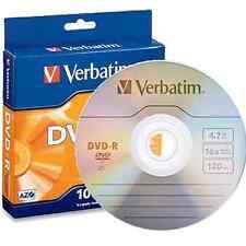 ($0 P & H) VERBATIM Discs DVD-R 4.7GB 16x Spindle  1 Pack OF 10 Pcs P/N 95100