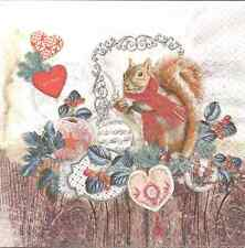 4 Single Paper Napkins for Decoupage Jack and his Nut Christmas Winter Squirrel