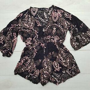 ANGIE Summer Playsuit Size L Black Paisley Elastic Waist Long Sleeve Holiday