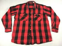 Vintage Red Buffalo Check Plaid Flannel Long Sleeve Shirt - Men's Size XLT Tall