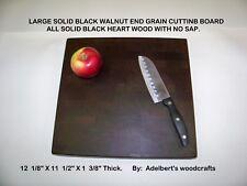 XL Black Walnut end grain butcher block cutting board. All black heart wood.
