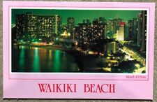 Old Postcard Island Of Oahu, Waikiki Beach Hawaii, View Early Evening, Hotels