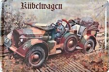 Blechschild Fahrzeug Wehrmacht Kübelwagen 1 Mann Metallschild Wanddeko tin sign