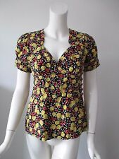 Anthropologie Plenty Tracy Reese Black Yellow Floral Printed Cotton Top fits 2