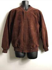 Vintage V Faux Suede Bomber Jacket Red/Brown, M, GC