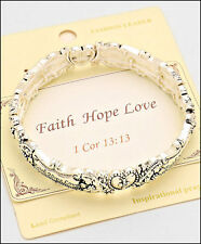 Faith Hope Love - EMBOSSED SILVER STRETCH BRACELET - Burnished Silver