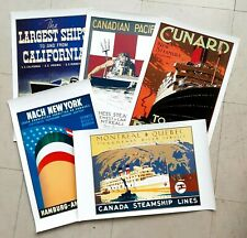 Lot of 5 Assorted Ships Ocean Liners Travel Vintage Poster Retro Canvas Prints (