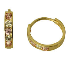 14K Yellow Gold 2mm Thick 5 Stone Pink CZ Polished Hoop Huggies Earrings