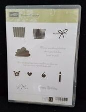 NEW Stampin Up Create a Cupcake Set of 12 Clear Mount Stamps Happy Birthday