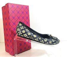 New Tory Burch Dakota Women Floral Blue Loafers Slip On Bow Flats Size 6.5 M