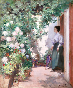 GUSTAVE COLIN (1828-1910) LARGE SIGEND FRENCH IMPRESSIOPNIST OIL  GIRL IN GARDEN