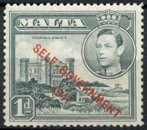 Malta 1948-53 SG#236a, 1d Grey Optd KGVI MNH #E10592
