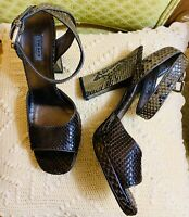 NEW PRADA Women's Snakeskin Open Toe Chunky Heels Italy Sandals Sz38.5 US8.5