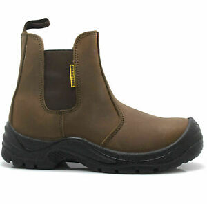 NEW MENS LEATHER SAFETY DEALER CHELSEA ANKLE BOOTS STEEL TOE CAP WORK SIZE UK 9
