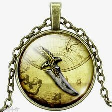 Médaillon vintage + chaine bronze-Medallion +Chain necklace/Knife/pirate/couteau