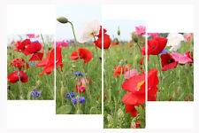 """Summer Poppies Floral Print Set 20"""" X 40""""+ Long 4 Panel Canvas Pictures Wall Art"""