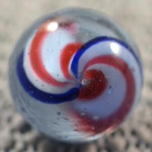 """MINTY GERMAN NAKED PEPPERMINT RIBBON CORE SWIRL SHOOTER MARBLE 25/32"""" (.784"""")"""
