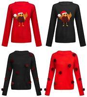 Womens Novelty Christmas Pom Pom Bird Sequin Glitter Jumper Knitwear Sweater Top