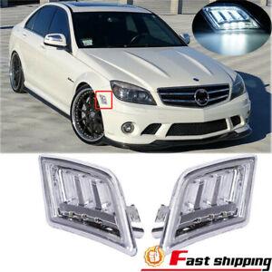 2PCS Fits 2008-2011 Mercedes Benz W204 C-Class LED Bumper Side Marker Light Lamp