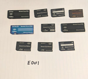 Lot of 10 Mixed Brand & Size Memory Stick Pro/Duo Cards Lot #E001
