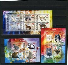 IVORY COAST 2013 FAUNA CATS 3 SHEETS OF 4 & 6 STAMPS MNH