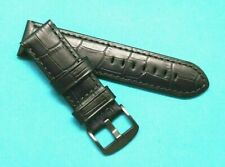 24mm Black Croco Embossed Leather Replacement Watch Strap - U-Boat 24 Black Case