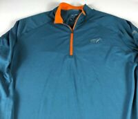 Adidas ClimaCool Jacket Mens XL Long Sleeve Shirt 1/4 Zip Pullover Teal Blue