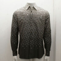 $595 New PRADA Limited Edition Black & Cream Geometric Cotton Shirt Size L