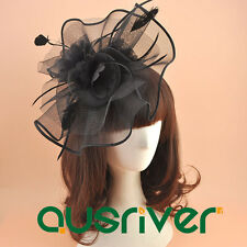 Women Feather Fascinator Hatinator Clip Black Top Hat Ladies Church Hats 1/box