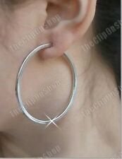 "CLIP ON 2"" / 5cm SILVER TONE hoops BIG HOOP EARRINGS"