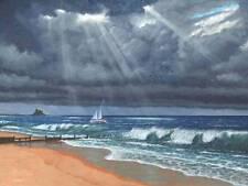 Stordimento ORIGINALE Richard harpum M.A (camb) RAW STORM OVER Lindisfarne PITTURA
