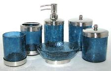 6 Pc PARADIGM Conjunto Azul Cristal Dispensador + Frasco/Tapa + Vaso + Jabonera