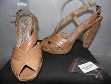 NEW JONES £65 tan beige leather KIMBLE peep toe platform shoes sandals 41 UK 8