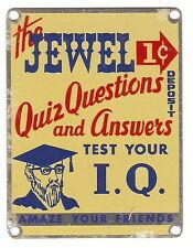 1950's JEWEL Quiz Q & A I.Q. Penny Arcade Machine NOS ADVERTISING NAME PLATE
