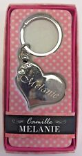 MELANIE Camille heart silver color personalized KEYCHAIN BRAND NEW IN PACKAGE