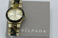"Silpada ""Timeless Tortoise"" Resin Stainless Steel Gold Watch KRT0016"