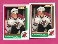 2 X 1986-87 OPC  # 37 DEVILS JOHN MACLEAN  ROOKIE NRMT-MT CARD (INV# C4411)