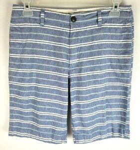 J Crew Mens Size 32 Blue Stripes Flat Front Pocket Linen Blend Chino Shorts