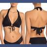 NWT $98 Robin Piccone Carly Keyhole Halter Bikini Top in Black [SZ Large ] #P182