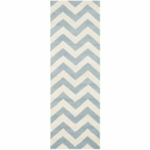 Hand-Tufted Chatham Blue/Ivory Wool Rug 2' 3 x 15' Runner