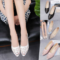 Women's Shallow Flat Heel Hollow Out Flower Shape Nude Casual Pointed-toe Shoes