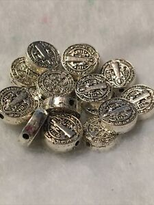 Saint St. Benedict Medal Connectors Links Beads Rosary Making Parts Lot of 18