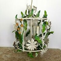 Vtg TOLEWARE CHANDELIER 3 light  Floral Drum Cage t ITALY Shabby Cottage Farm