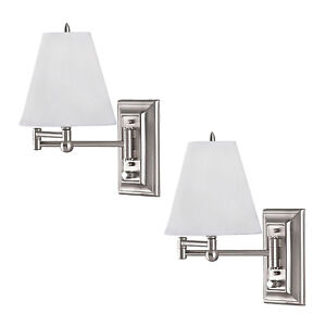 Brushed Nickel Wall Mount Swing Arm Reading Bedside Lamp Bedroom Light