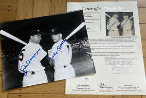 + Mickey Mantle Joe DiMaggio Signed Auto Autograph 8x10 Photo JSA