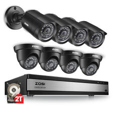ZOSI 16 CH Channel 720P DVR with Hard Drive 2TB 8 Outdoor Security Camera System
