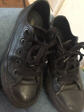 Boys Black Leather Converse Size 11 Still Have A Lot Of wear In Them