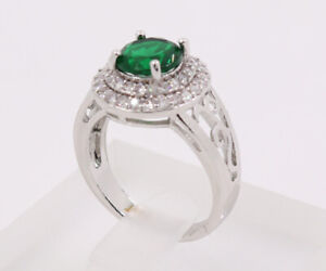New Jewelry Natural  2.78ct Emerald 14k Solid White Gold Ring Size 7.5#