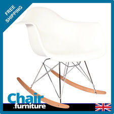 Rocking Chair RAR Rocker Armchair Retro Modern Lounge Dining Furniture WHITE